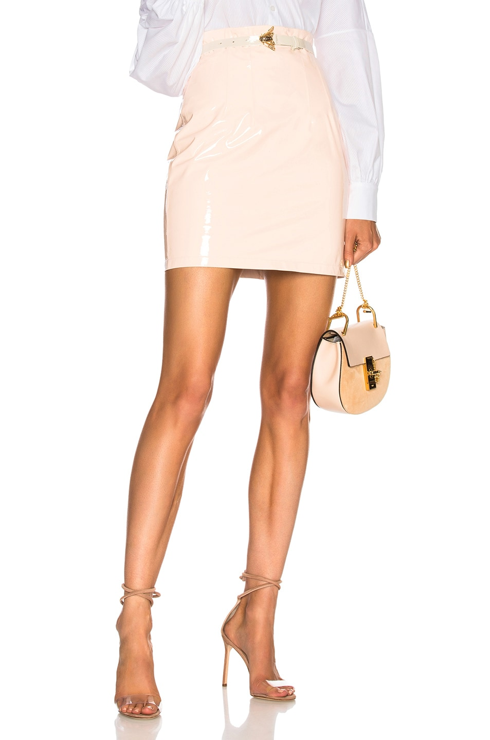 Image 1 of Zeynep Arcay Patent Leather Mini Skirt in Light Pink
