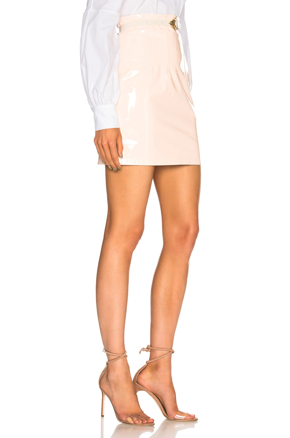 Image 2 of Zeynep Arcay Patent Leather Mini Skirt in Light Pink