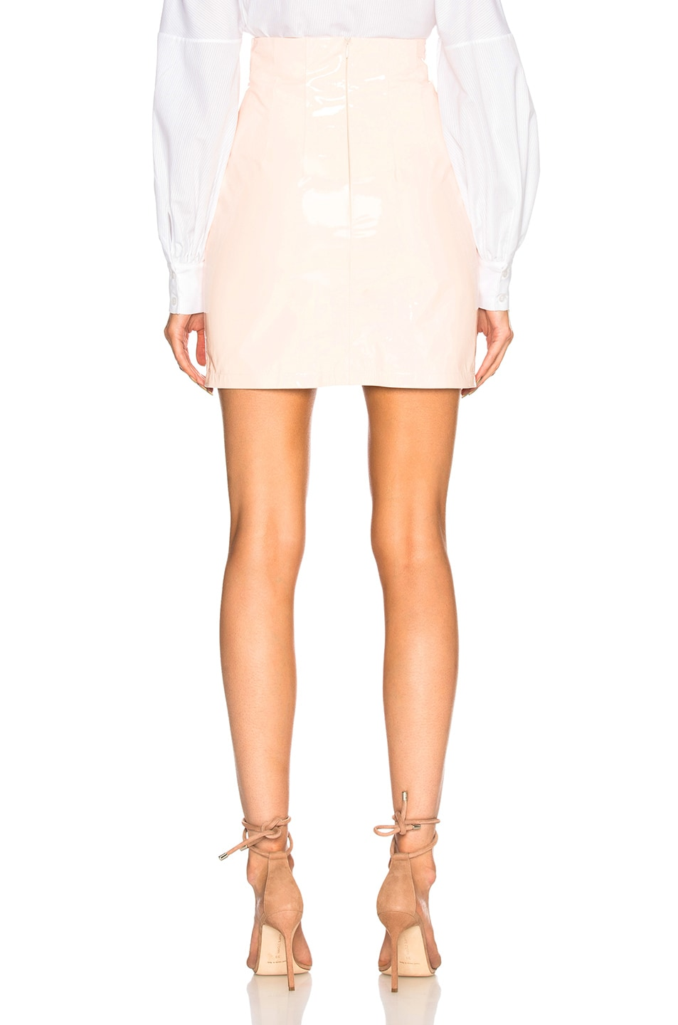 Image 3 of Zeynep Arcay Patent Leather Mini Skirt in Light Pink