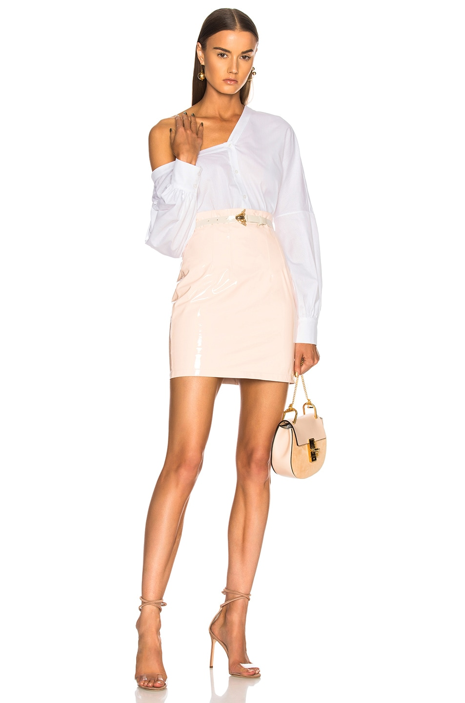 Image 4 of Zeynep Arcay Patent Leather Mini Skirt in Light Pink