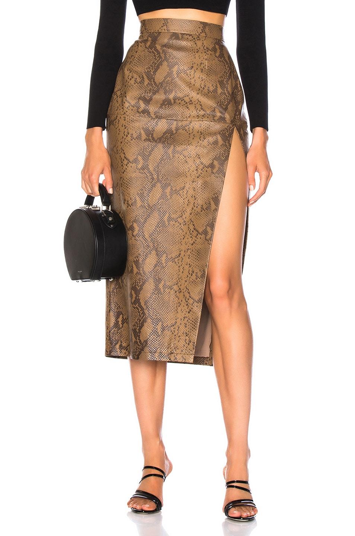 Image 1 of Zeynep Arcay for FWRD Snake Skin Print Leather Midi Skirt in Creamy Coffee & Dark Chocolate
