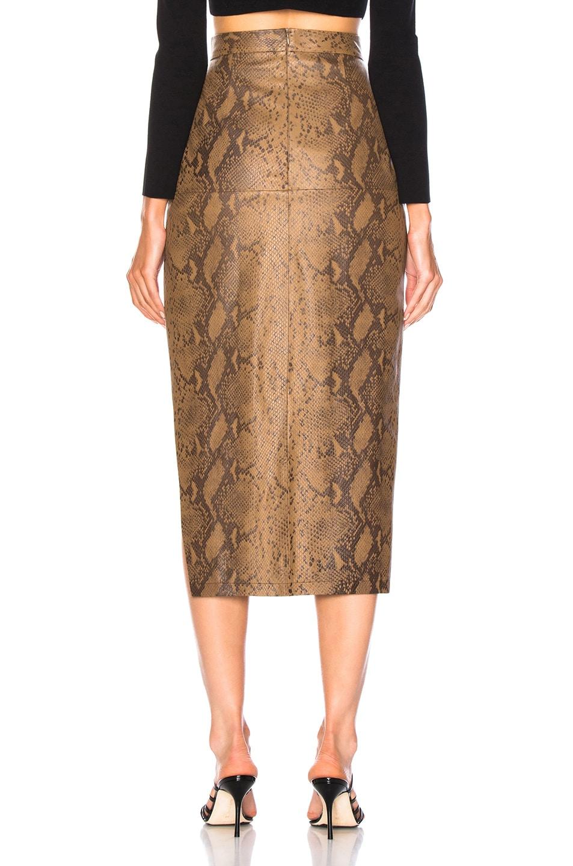Image 3 of Zeynep Arcay for FWRD Snake Skin Print Leather Midi Skirt in Creamy Coffee & Dark Chocolate
