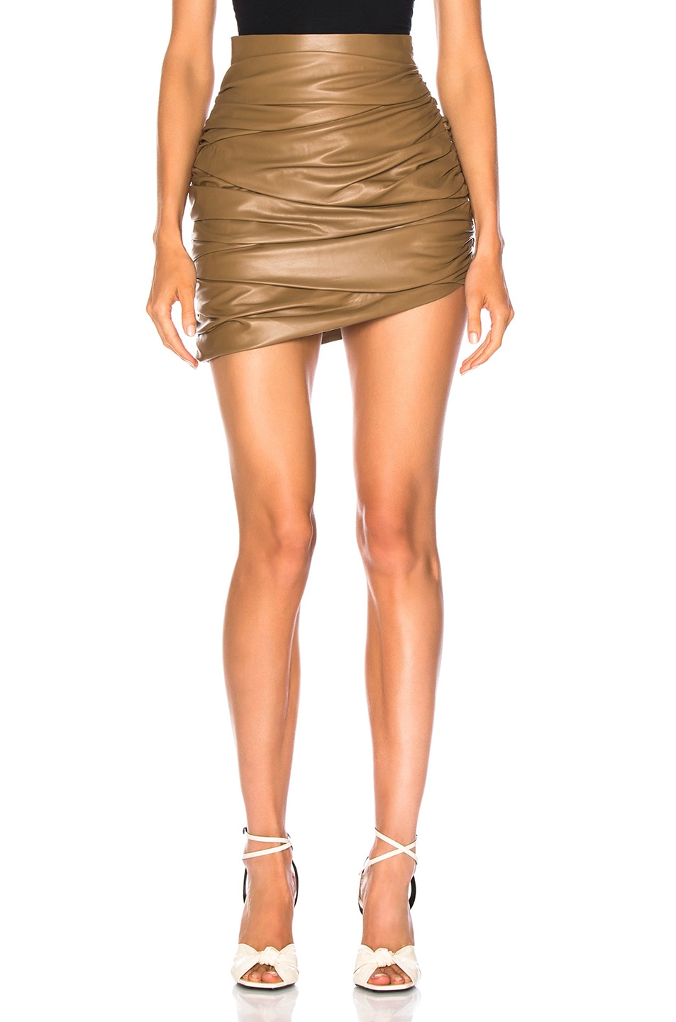 Image 1 of Zeynep Arcay for FWRD Draped Mini Leather Skirt in Creamy Coffee
