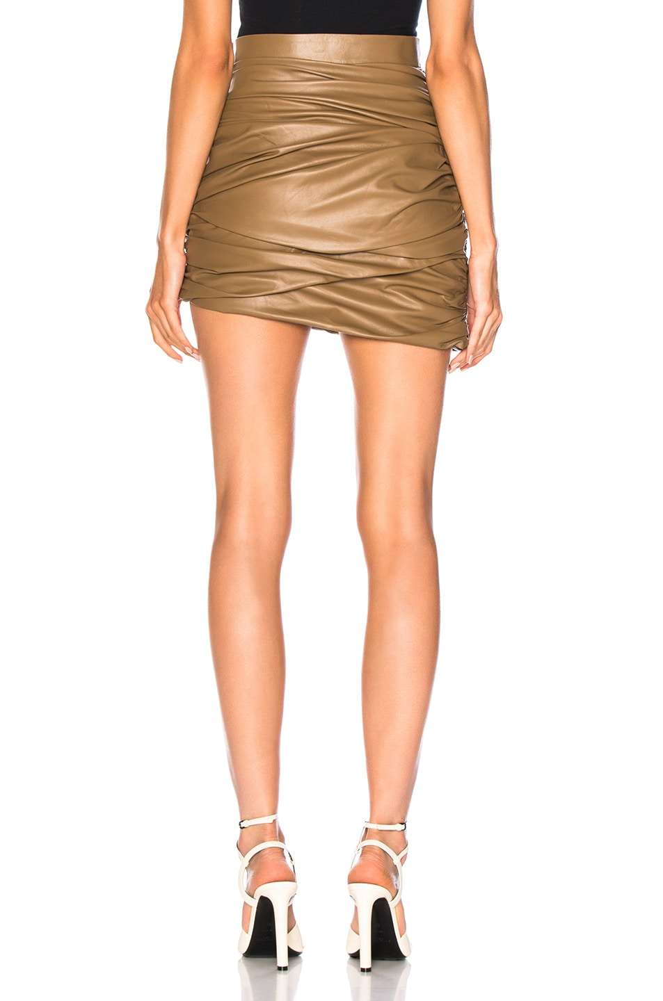 Image 3 of Zeynep Arcay for FWRD Draped Mini Leather Skirt in Creamy Coffee
