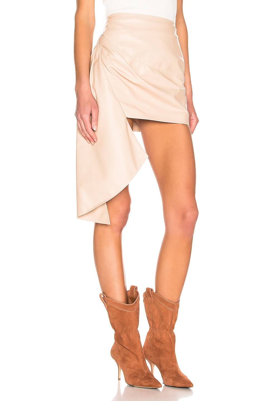 Image 2 of Zeynep Arcay Asymmetric Mini Leather Skirt in Nude