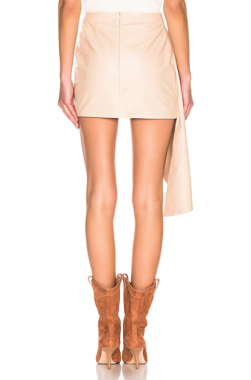 Image 3 of Zeynep Arcay Asymmetric Mini Leather Skirt in Nude