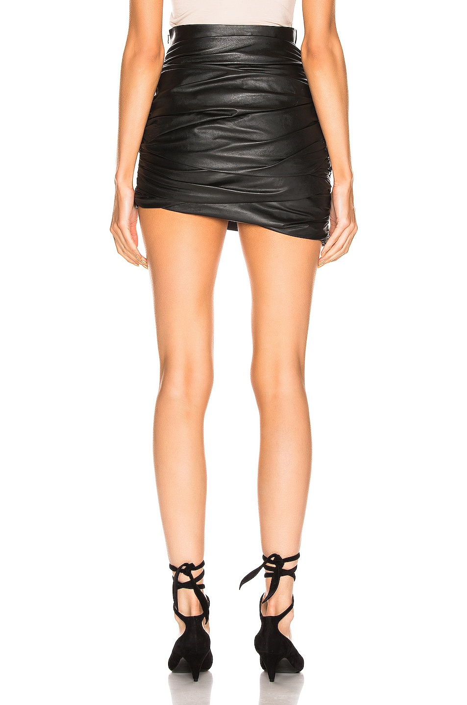 Image 4 of Zeynep Arcay Draped Mini Leather Skirt in Black