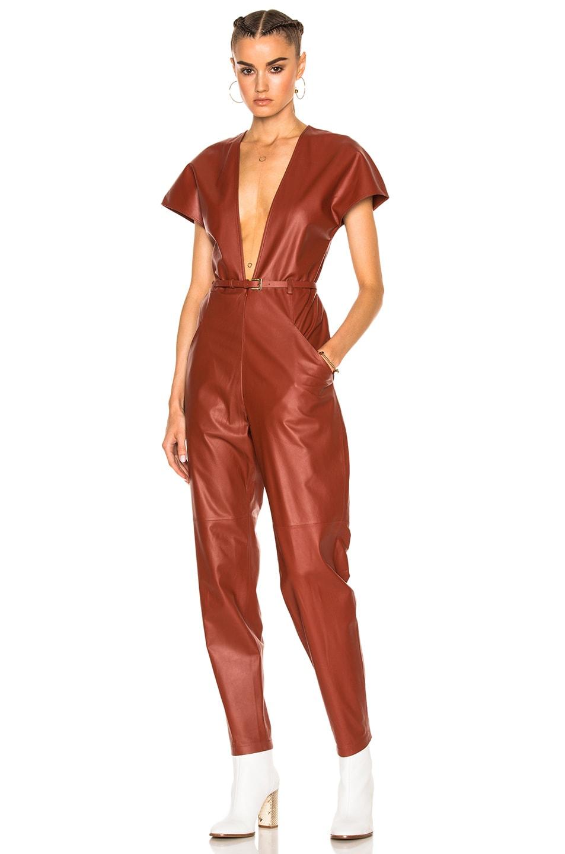 Image 1 of Zeynep Arcay V-Neck Leather Jumpsuit in Brick