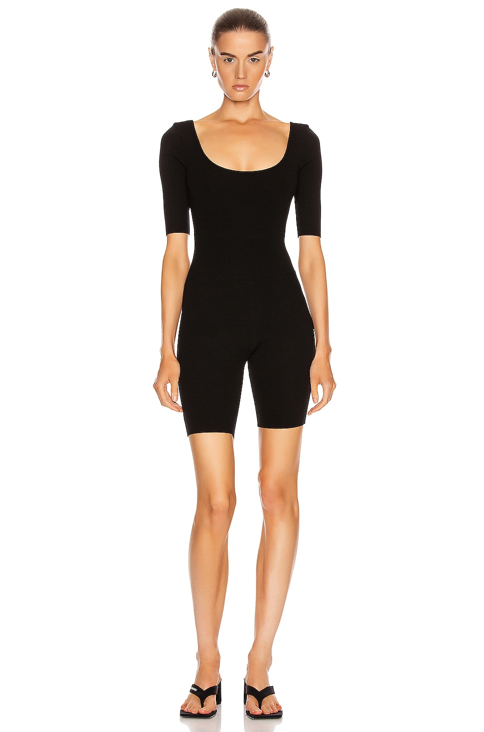 Image 1 of Zeynep Arcay Ballerina Knit Short Catsuit in Black