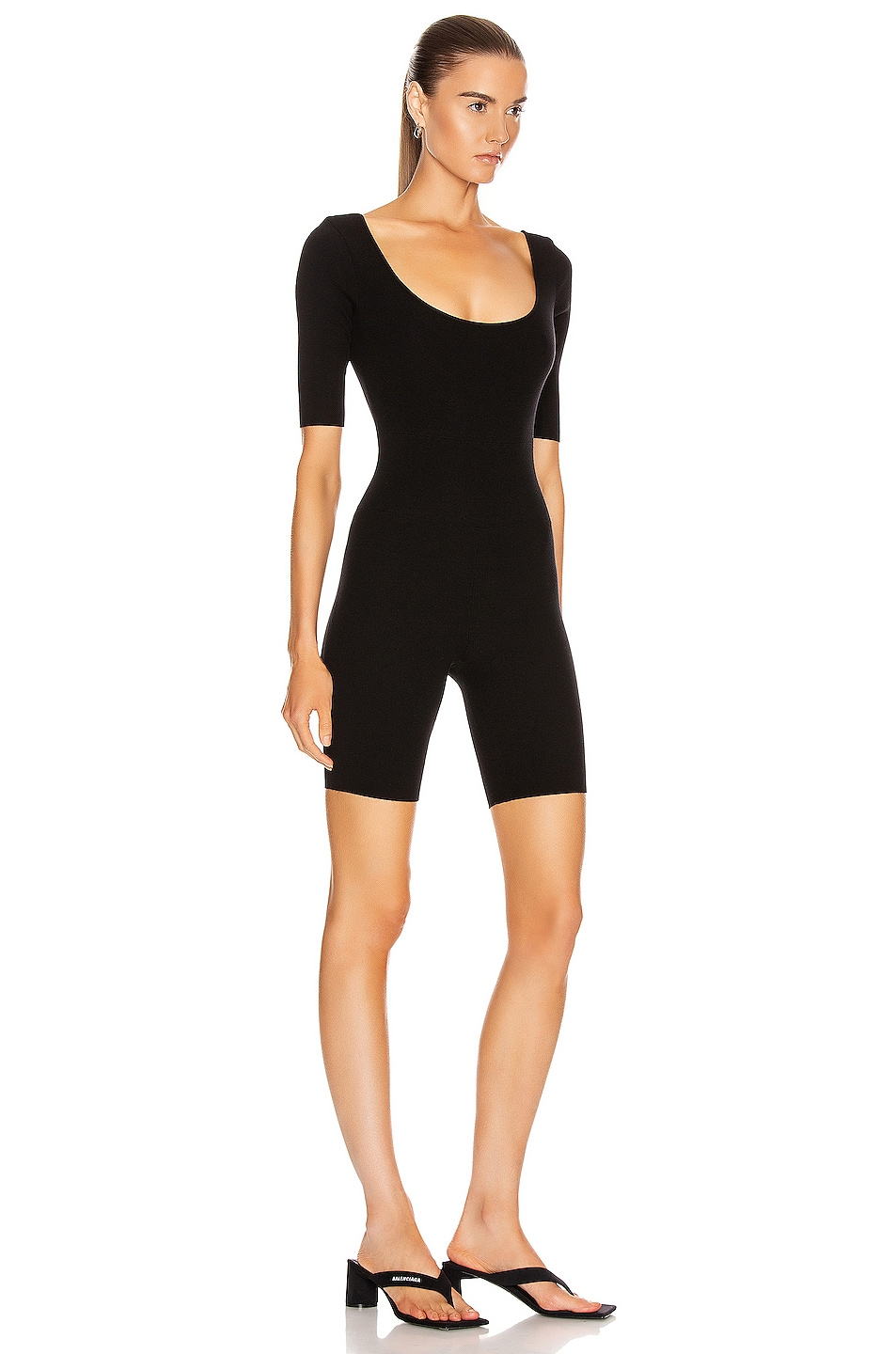 Image 2 of Zeynep Arcay Ballerina Knit Short Catsuit in Black