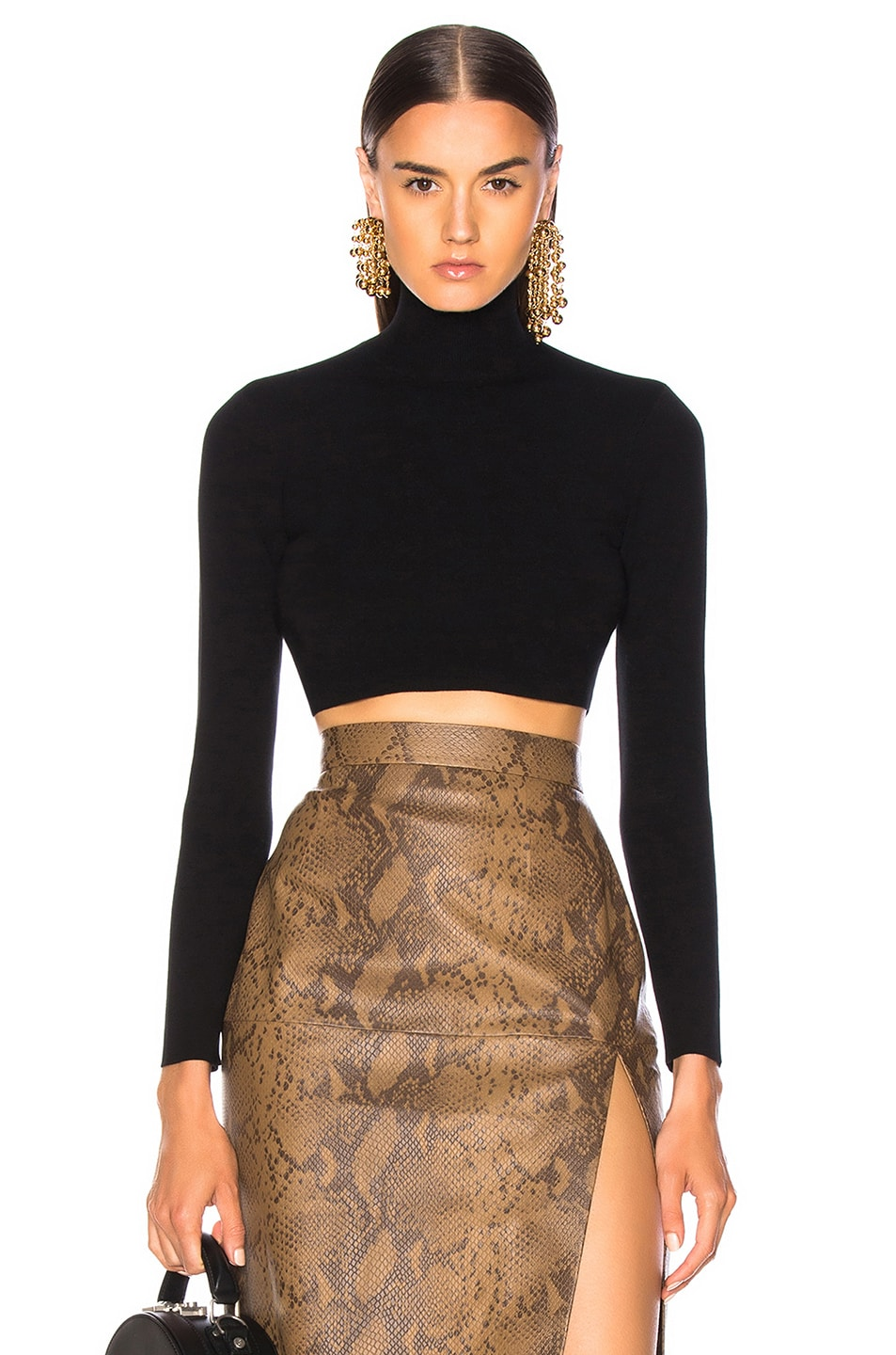 Image 1 of Zeynep Arcay Turtleneck Cropped Top in Black & Black
