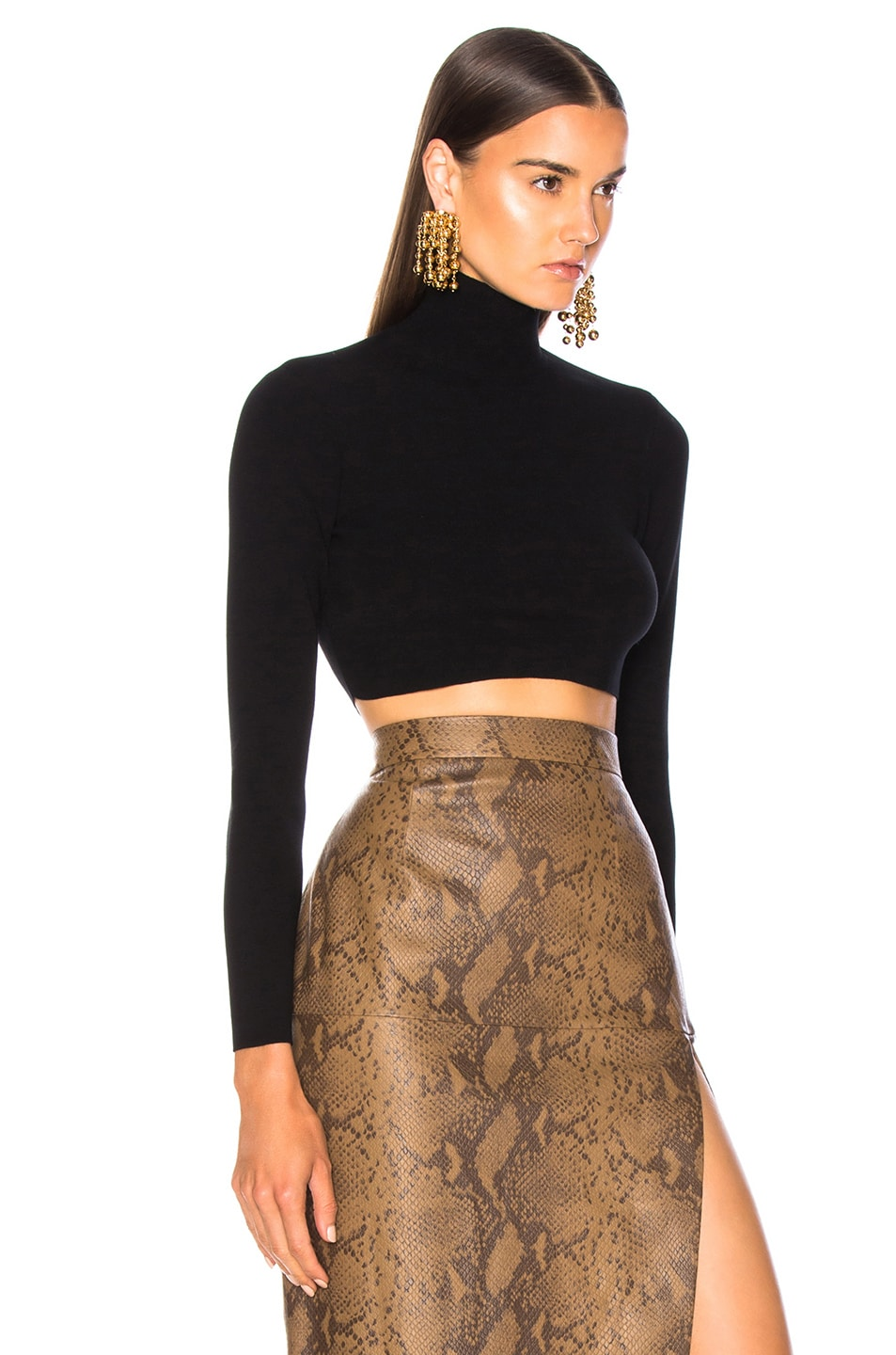 Image 2 of Zeynep Arcay Turtleneck Cropped Top in Black & Black