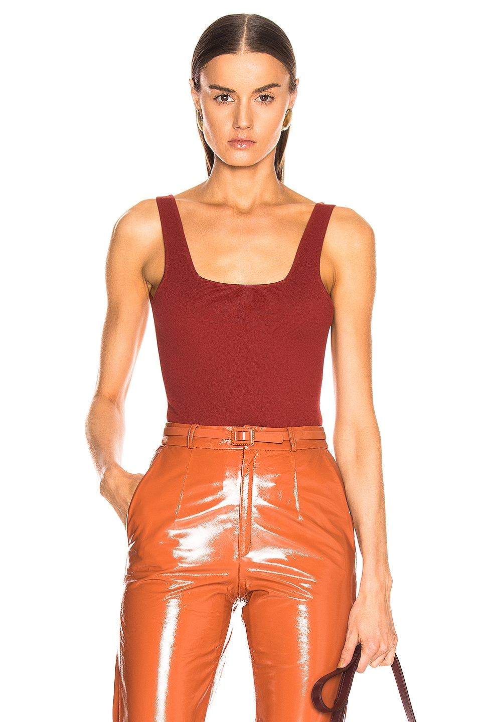 Image 1 of Zeynep Arcay Square Neck Knit Bodysuit in Brick