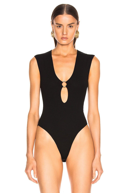 Image 2 of Zeynep Arcay Ring Knit Bodysuit in Black