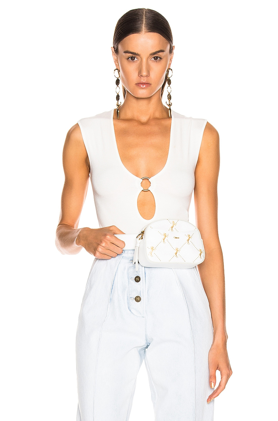 Image 1 of Zeynep Arcay Ring Knit Bodysuit in White