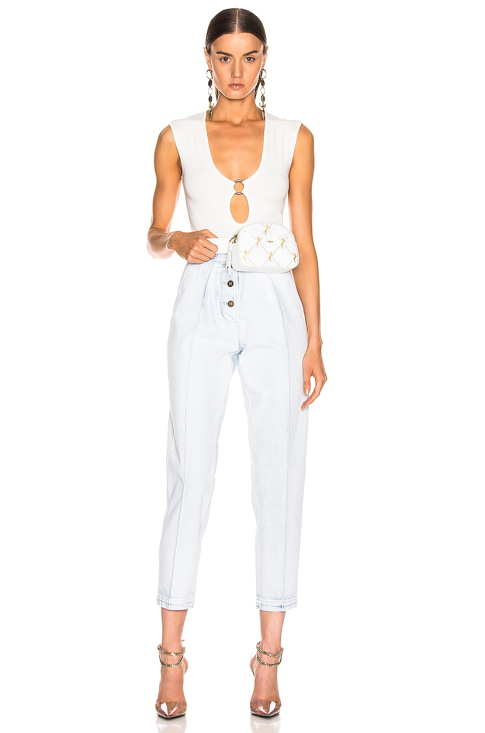 Image 5 of Zeynep Arcay Ring Knit Bodysuit in White