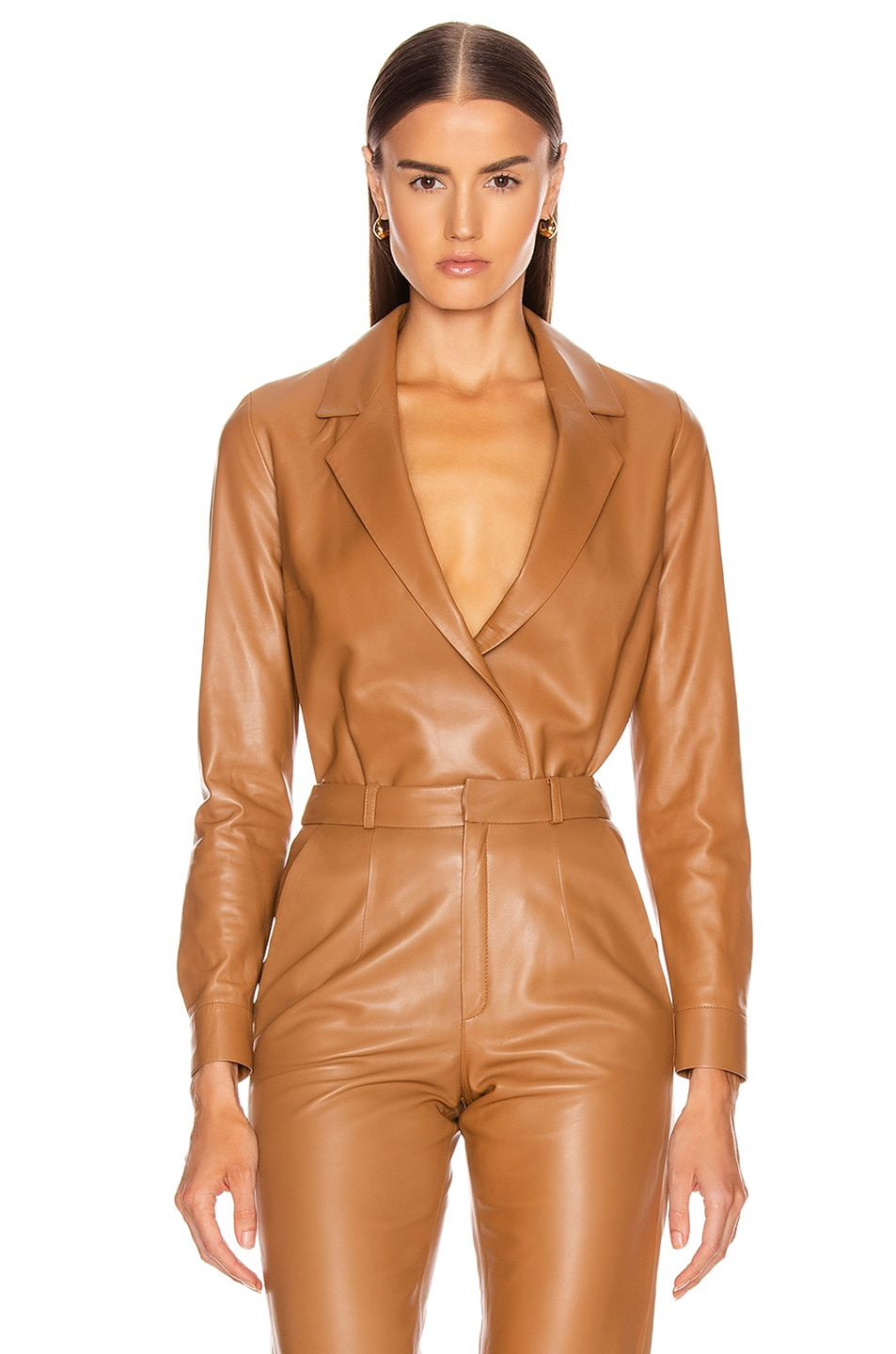 Image 1 of Zeynep Arcay Leather Shirt Bodysuit in Light Taba