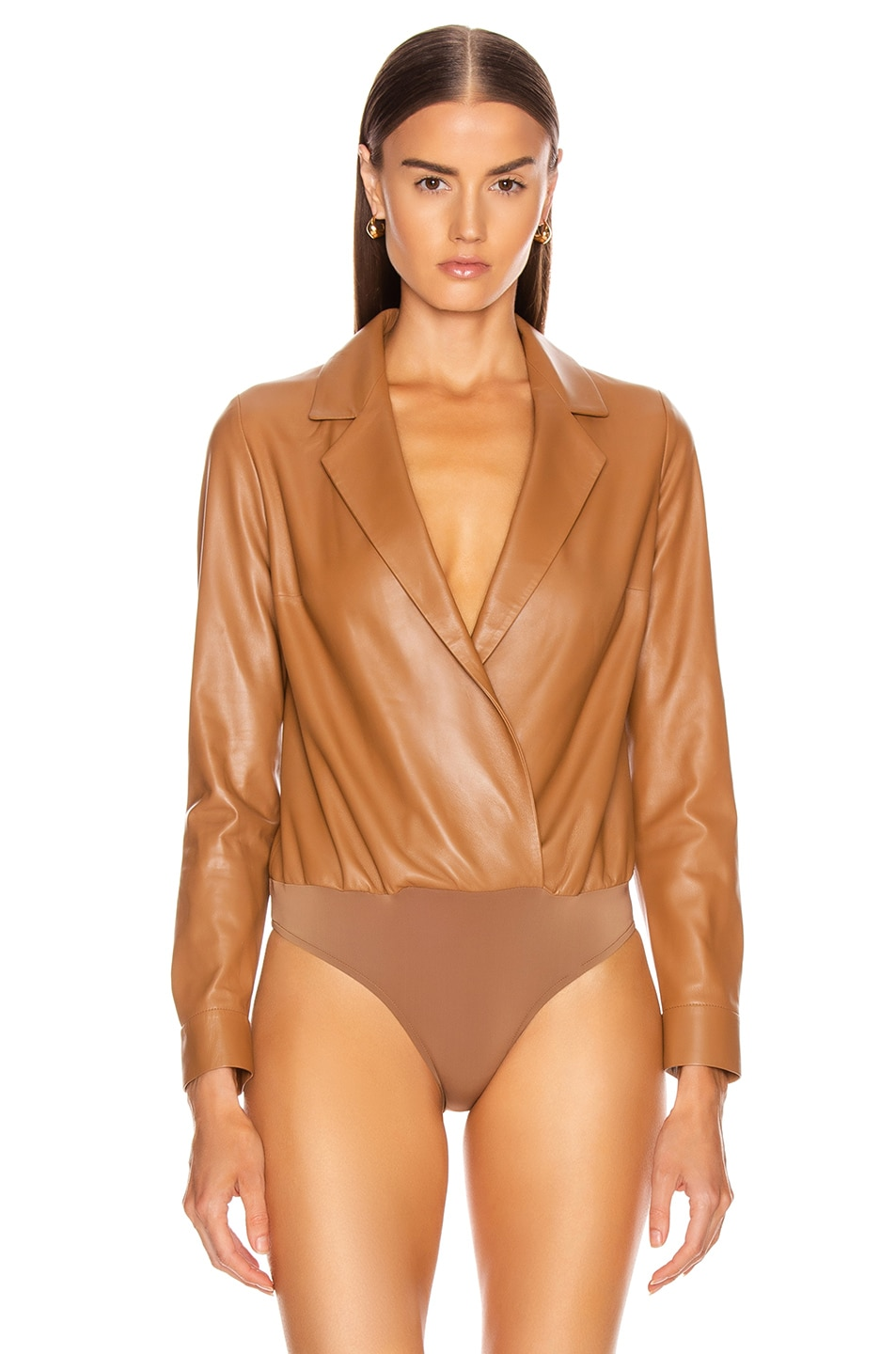 Image 2 of Zeynep Arcay Leather Shirt Bodysuit in Light Taba