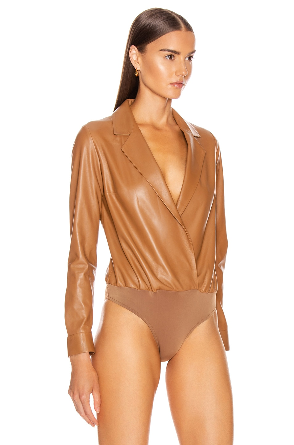 Image 3 of Zeynep Arcay Leather Shirt Bodysuit in Light Taba