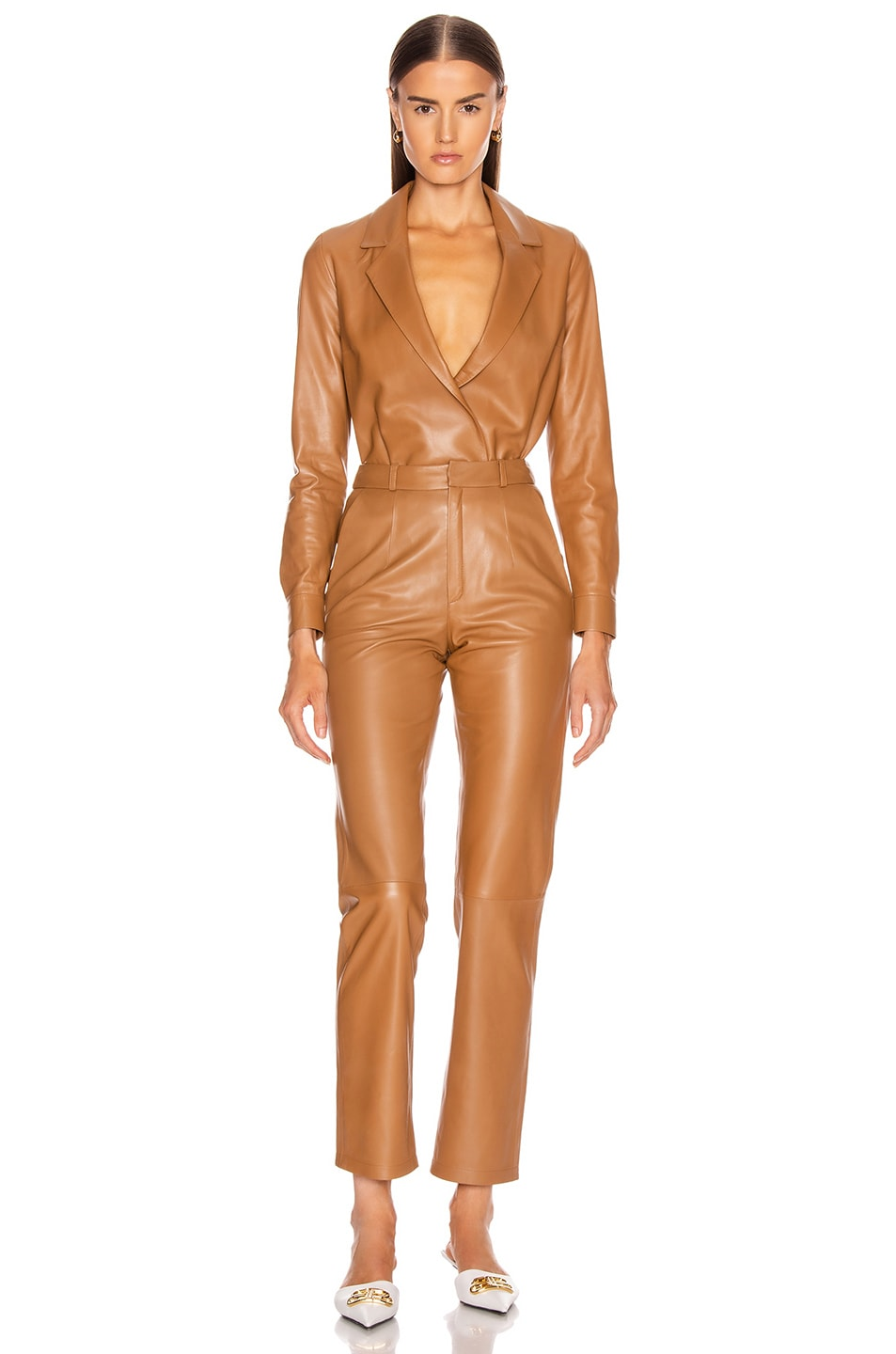 Image 5 of Zeynep Arcay Leather Shirt Bodysuit in Light Taba