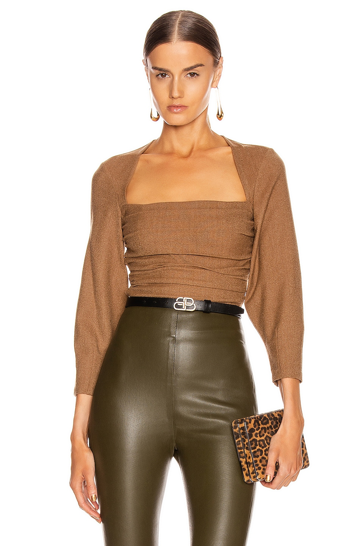 Image 1 of Zeynep Arcay Wool Bodysuit in Taba