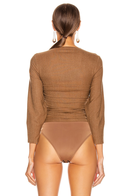 Image 4 of Zeynep Arcay Wool Bodysuit in Taba