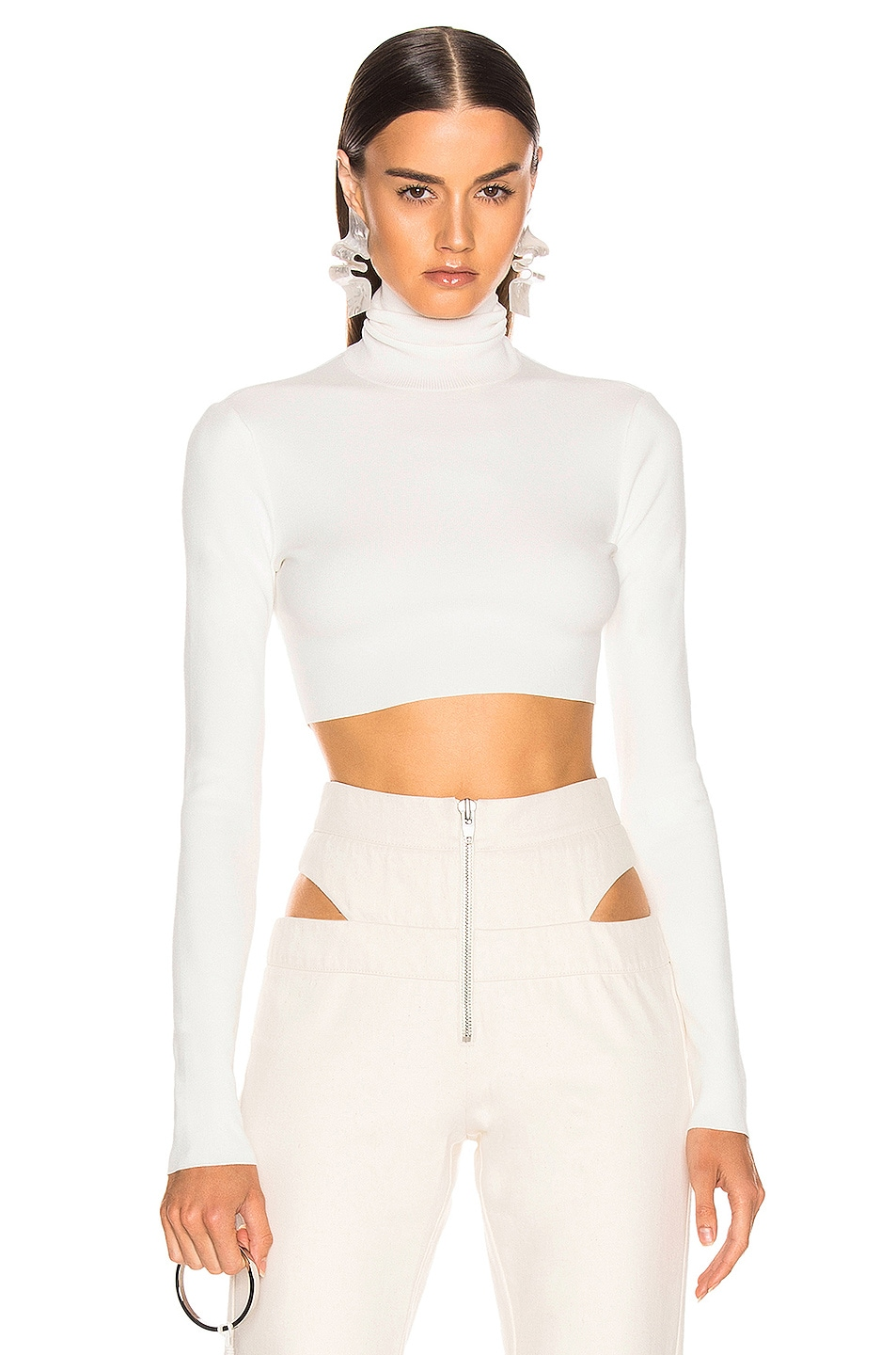 Image 1 of Zeynep Arcay Turtleneck Cropped Knit Top in White