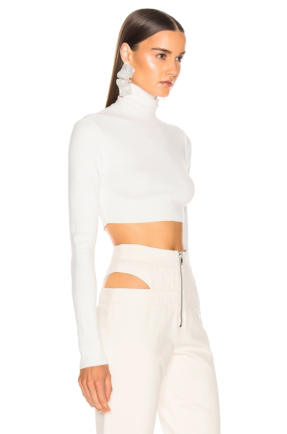 Image 2 of Zeynep Arcay Turtleneck Cropped Knit Top in White
