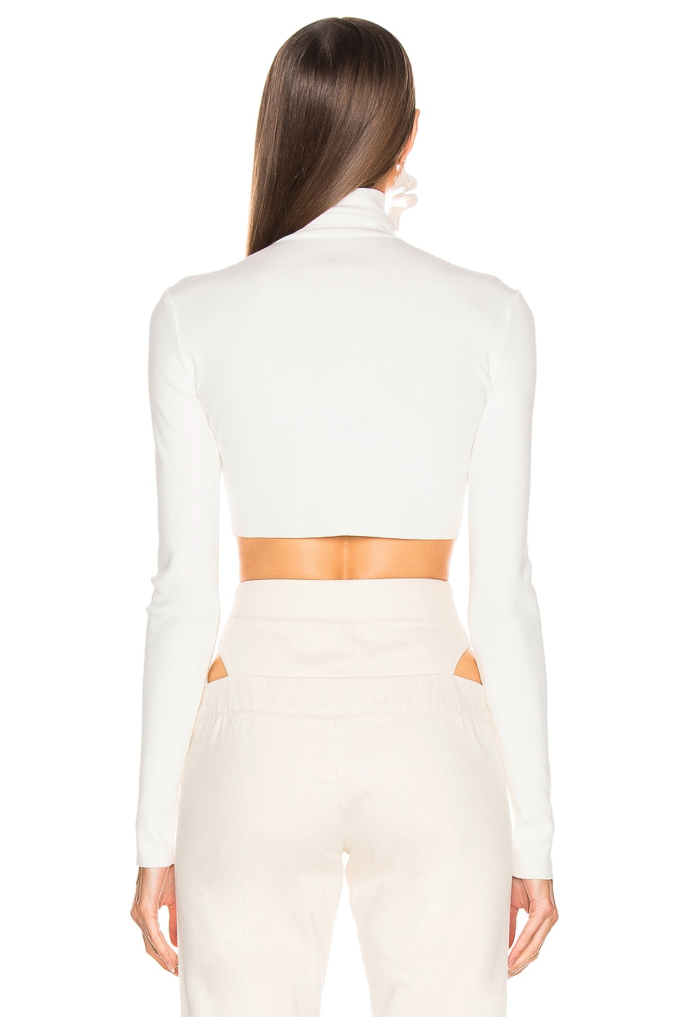 Image 3 of Zeynep Arcay Turtleneck Cropped Knit Top in White