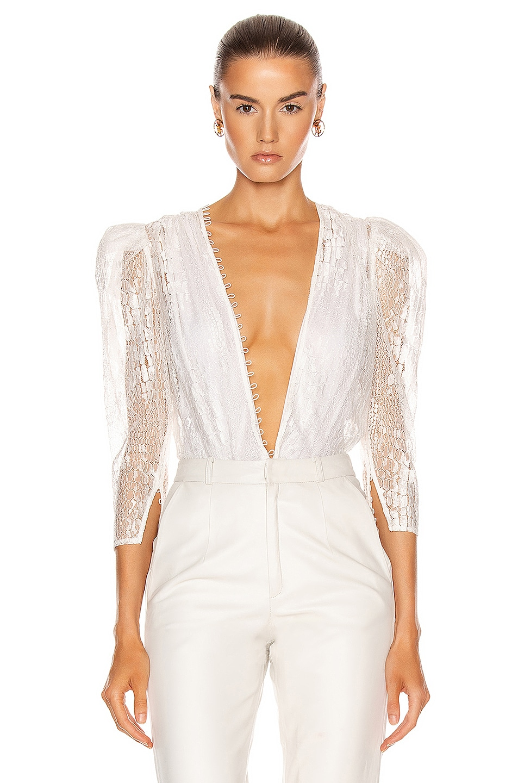Image 1 of Zeynep Arcay Deep V Neck Lace Bodysuit in White