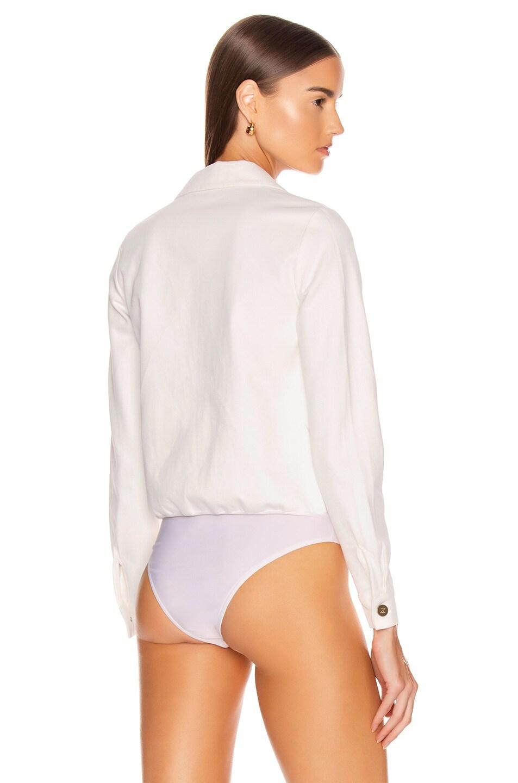 Image 4 of Zeynep Arcay Denim Bodysuit in White