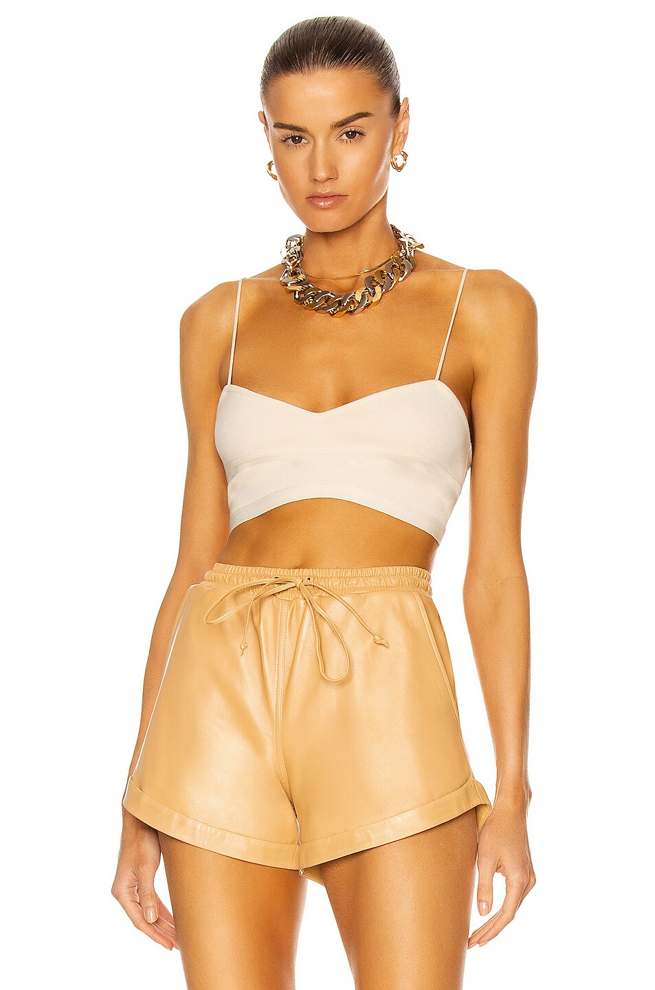 Image 1 of Zeynep Arcay Knit Bustier Top in Limestone