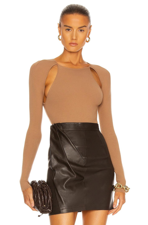Image 1 of Zeynep Arcay Cutout Knit Bodysuit in Light Brown