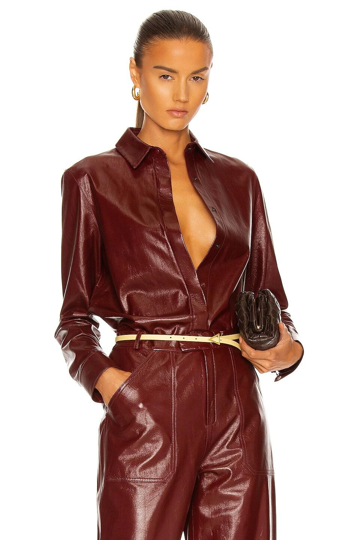 Image 1 of Zeynep Arcay Leather Shirt in Plum
