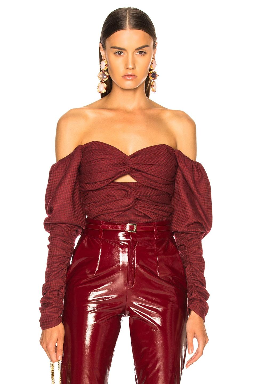 Image 1 of Zeynep Arcay Plaid Wool Bodysuit in Red
