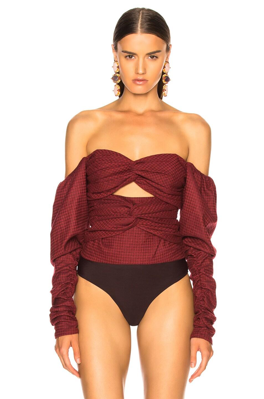 Image 2 of Zeynep Arcay Plaid Wool Bodysuit in Red