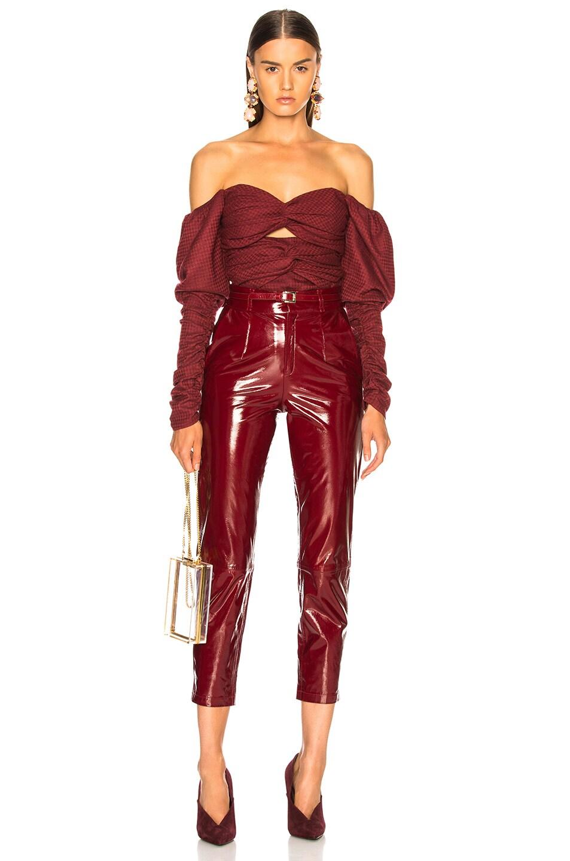 Image 5 of Zeynep Arcay Plaid Wool Bodysuit in Red