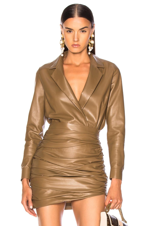 Image 1 of Zeynep Arcay for FWRD Leather Shirt Bodysuit in Creamy Coffee