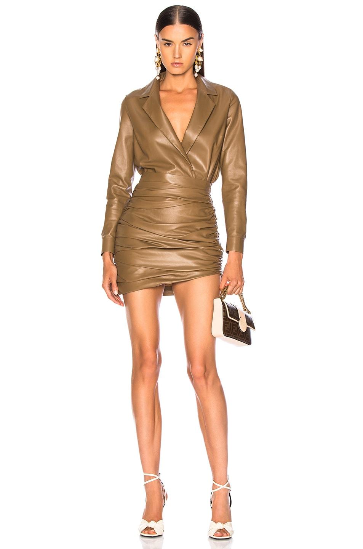 Image 5 of Zeynep Arcay for FWRD Leather Shirt Bodysuit in Creamy Coffee