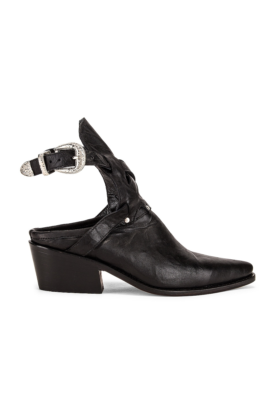 Image 1 of Zeynep Arcay Leather Cowboy Sobo Ankle Boots in Black