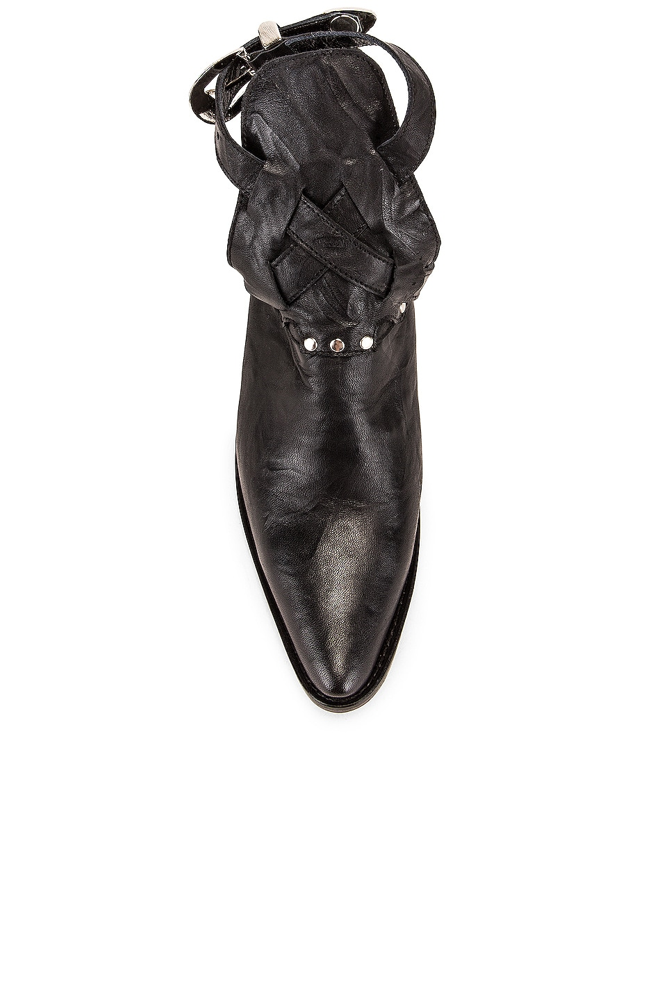 Image 4 of Zeynep Arcay Leather Cowboy Sobo Ankle Boots in Black