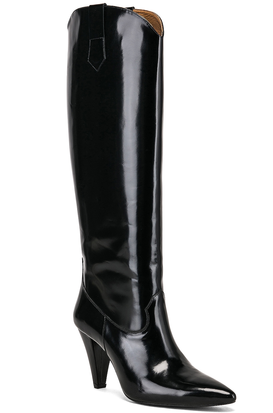 Image 2 of Zeynep Arcay Patent Leather Knee High Boots in Black