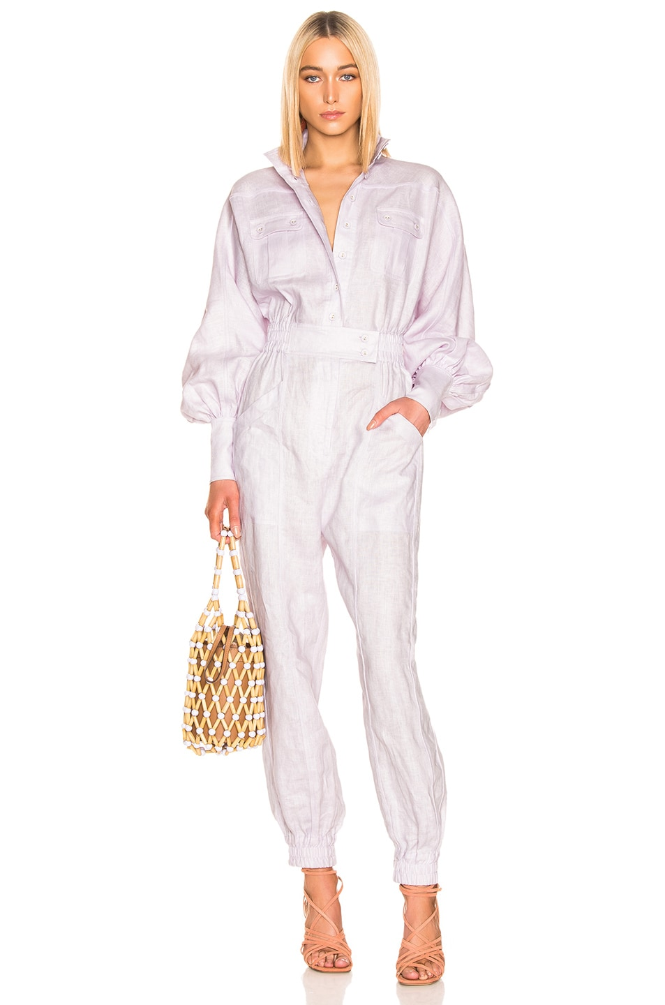 Image 1 of Zimmermann Ninety Six Racer Boilersuit in Lavender