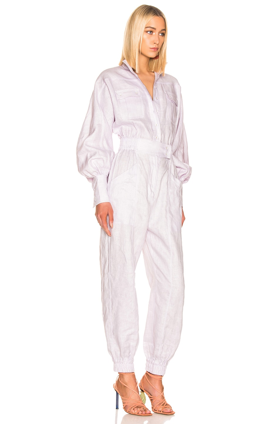 Image 2 of Zimmermann Ninety Six Racer Boilersuit in Lavender