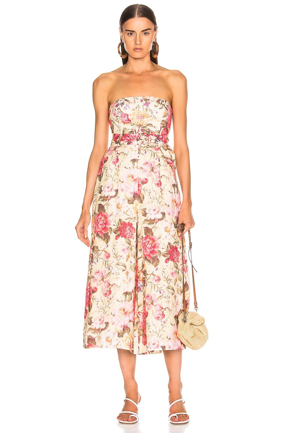 Image 1 of Zimmermann Honour Strapless Jumpsuit in Lemon Floral