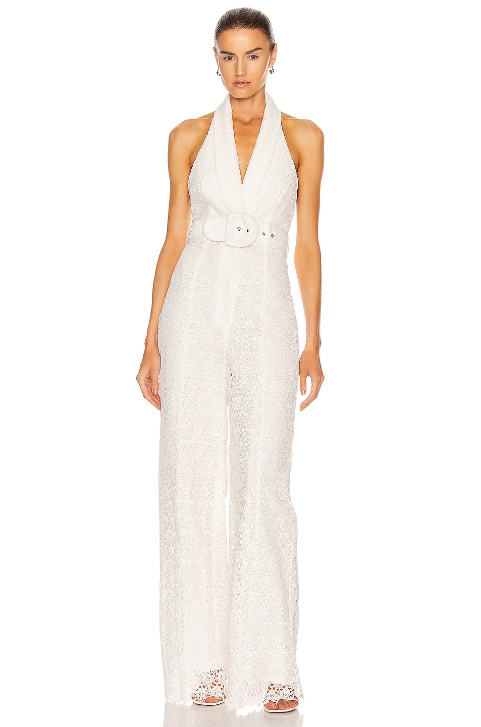 Image 1 of Zimmermann Super Eight Lace Jumpsuit in Ivory