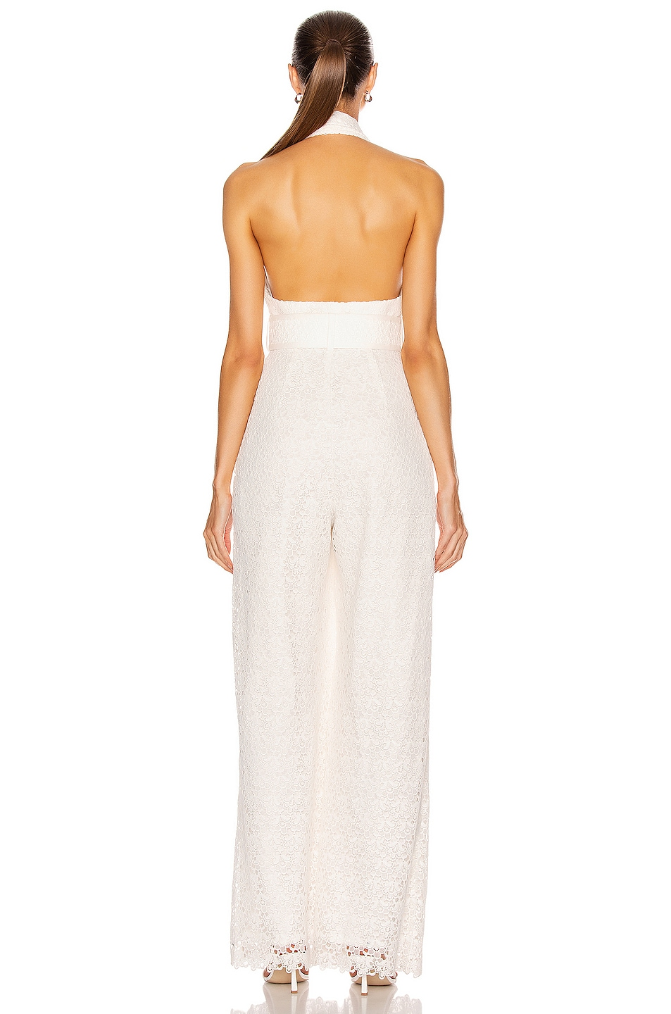 Image 3 of Zimmermann Super Eight Lace Jumpsuit in Ivory