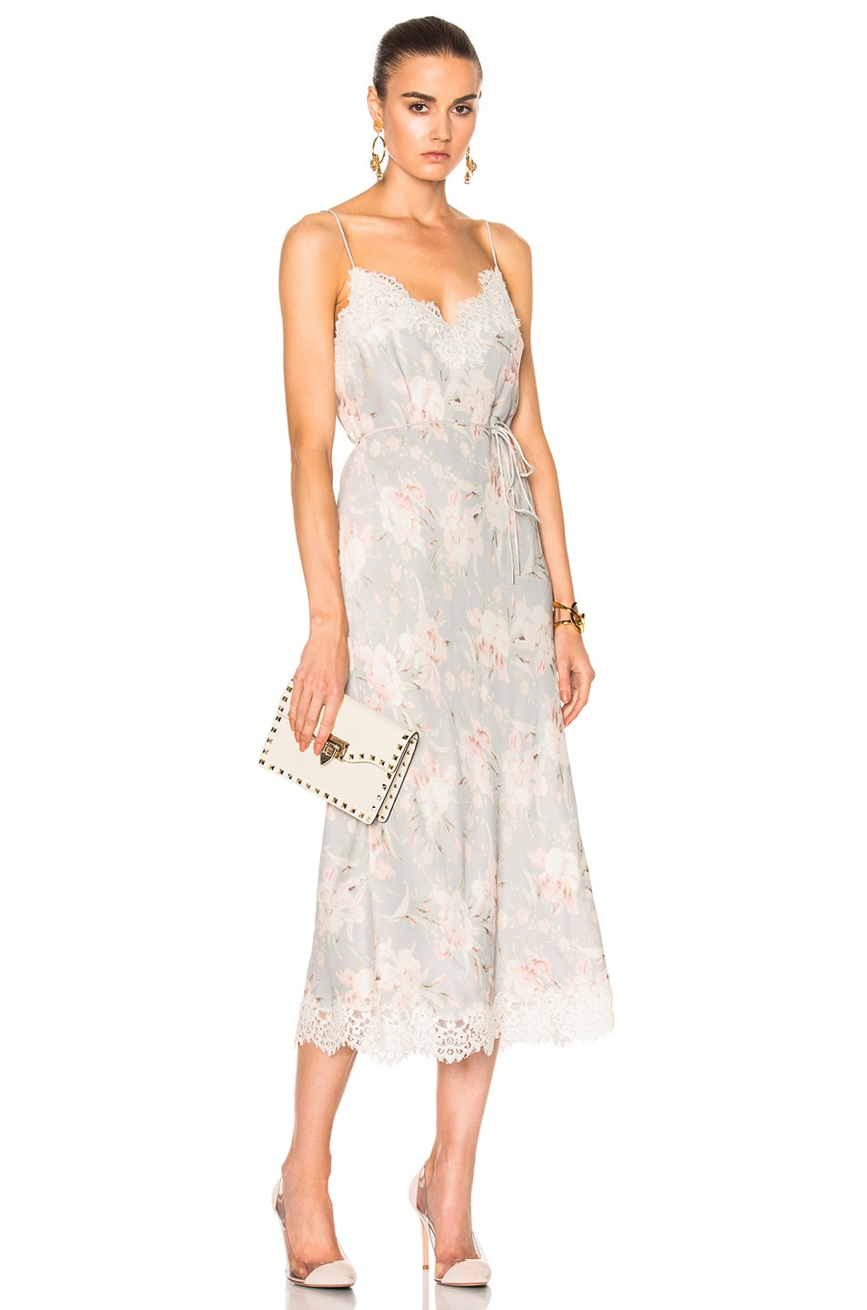 c7bcb9153093 Image 1 of Zimmermann Stranded Lace Slip in Iris Floral