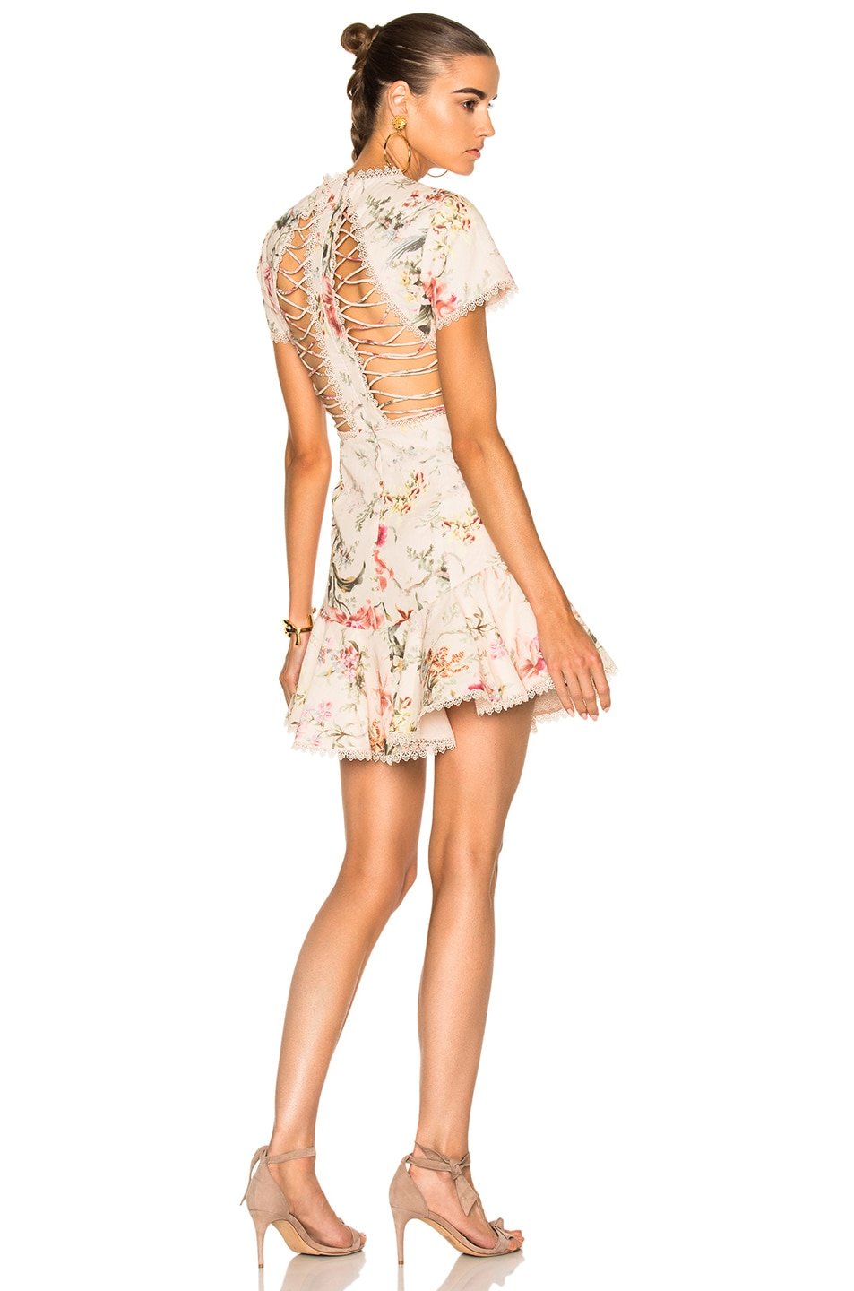 Image 1 of Zimmermann Mercer Flutter Dress in Cream Floral