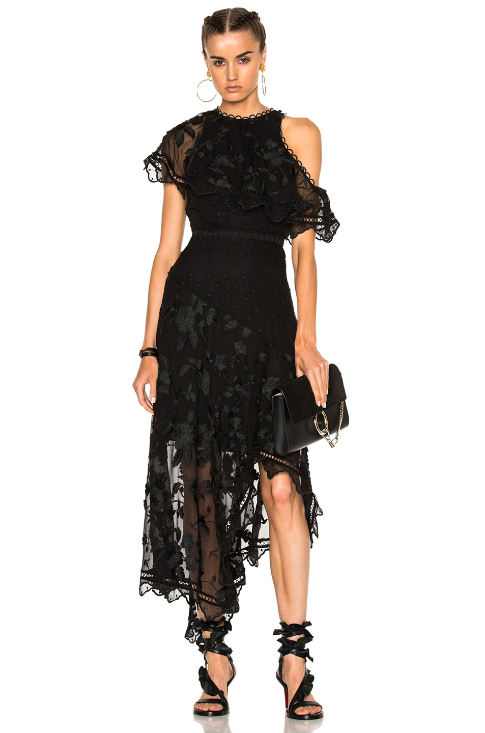Image 1 of Zimmermann Mercer Bird Floating Dress in Noir